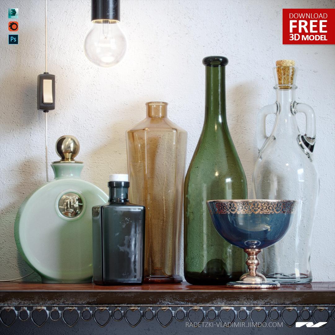 Free 3d model GLASS BOTTLES SET by Vladimir Radetzki