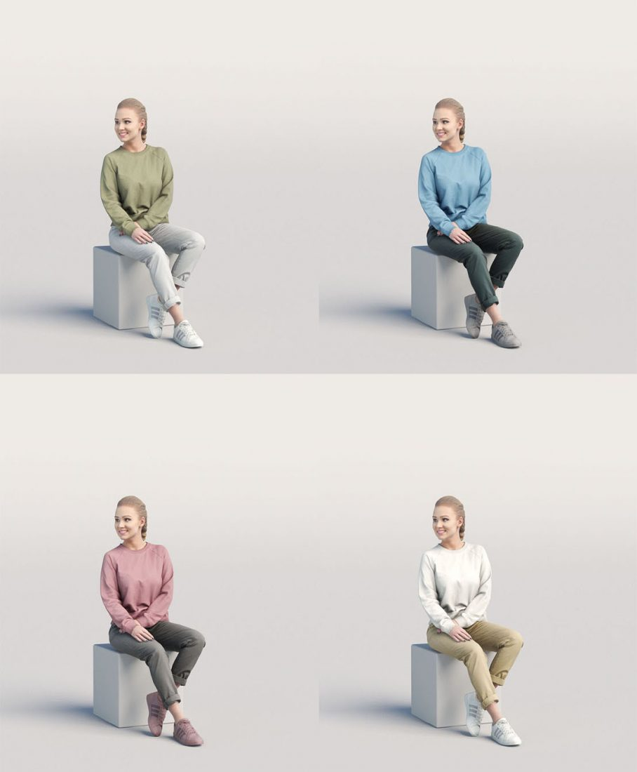 Free 3 Posed 3d People model from Humano3D